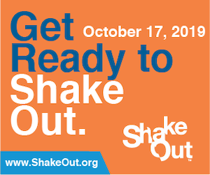 Promotional image for the 2019 Great ShakeOut earthquake drill on Oct 17