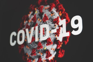 "Coronavirus illustration with text ""COVID-19"""